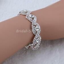 New Infinity Silver Diamante Crystal Rhinestone Bangle Bracelet Wedding Jewelry