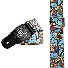 Blu Brillante Cinghia per Chitarra Gufo Design (3056) Carino Cool Design unico RARO in pelle