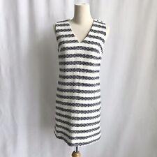 J.CREW White/ Black Tweed Striped Sleeveless V-neck Career Power  Dress Size 0