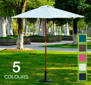2.5m Wood Wooden Garden Parasol Sun Shade Patio Outdoor Umbrella Canopy New