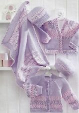 "Baby Blanket Pram Cover Jacket Leggings Knitting Pattern DK 18-22/""  640"
