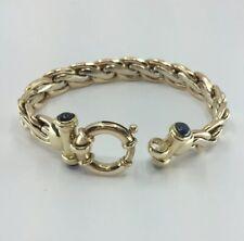 10k Two Tone Gold Bracelet Fancy Link W/ Sapphire Cabochons Italian Made 7in 20g