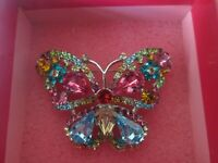 VINTAGE SIGNED BUTLER AND WILSON COLOURFUL RHINESTONE BUTTERFLY BROOCH PIN