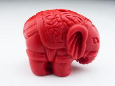 1 X Adorables sculpté rouge éléphant Bead 22 mm Synthétique cinabre Laque résine perles