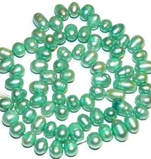 """NP218 Teal Green 8mm Top-Drilled Cultured Freshwater Rice Pearl Beads 15"""""""