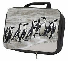 Sea Penguins Black Insulated School Lunch Box Bag, AB-101LBB