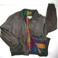 MEMBERS ONLY vtg 70s Suede Leather Lined Cafe Bomber Jacket Sz 44-46 Gray