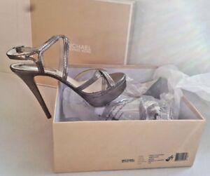 Michael Kors Metallic Nickel Sandals Leather Cicely Platform Stilettos Size 8.5