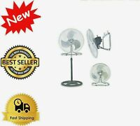 "18"" Industrial Heavy-duty Metal 3 Speed Stand Floor Shop Garage Fan 3 in 1"