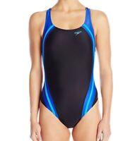 Speedo Womens Swimwear Black Blue 6 Quantum Splice High Cut Swimsuit $78- 050