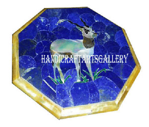"""24"""" Blue Marble Coffee Table Top Lapis MOP Deer Inlay Stone Art Home Decors H986"""