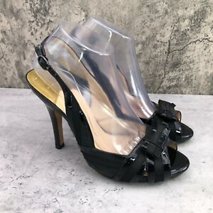 Cole Haan Air Women Black Patent Leather Ankle Strap Bow Peep Toe Pumps Size 8.5