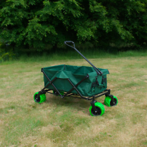 FOLDABLE GARDEN TRAILER COLLAPSIBLE PULL TROLLEY WAGON TRANSPORT HAND CART