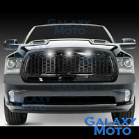 Raptor Gloss Black Replacement Mesh Grille+Shell+White LED for 13-17 Dodge RAM