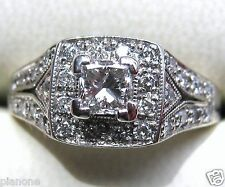 3/4 Ct 14k Natural Princess Diamond Ring Vintage Inspired Halo Fred Meyer