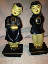 Vintage Asian Women Chalkware Figurines