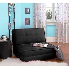 YOUR ZONE Rich Black Chair Flip Out Convertible Sleeper Bed Couch Lounger Sofa