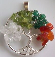 """Tree of Life Necklace Pendant Four Seasons Wire Wrapped Silver Gemstones 1.5"""""""