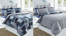 Double Bed Duvet Cover Set Remi Blue Patchwork Navy Floral Damask Abstract