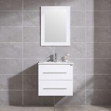 "24"" Bathroom Vanity Sink Set Wall Mount Floating Cabinet + Mirror & Faucet White"