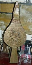VINTAGE Accordion Fireplace Bellows Brass Wood Leather Embossed Hearth Winter
