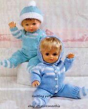 (47) Knitting Pattern for Doll's Pram Set, Sweater Cardigan Dungarees Hat Socks