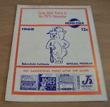 "1965 'Official Program' MINOR LEAGUE Baseball~""BAKERSFIELD BEARS""~LA Angels~"