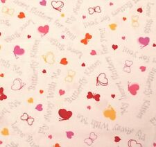 Love Bugs by Studio 8 Quilting Treasures BTY Pink Red Orange Hearts Words White