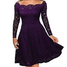 Women's Vintage Lace Boat Neck Formal Wedding Cocktail Evening Party Swing Dress
