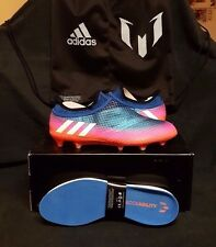 Adidas Messi 16+ Pureagility FG/AG Soccer Cleats (US 11.5) Blue/Pink/Red/White