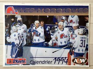 1994 QUEBEC NORDIQUES WALL CALENDAR HOCKEY NHL