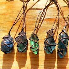 Natural Quartz Fluorite Gemstone Healing Pendant Necklace Blue Green Aquamarine