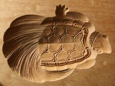 19ksg184 JAPANESE KASHIGATA CAKE MOLD TURTLE WOOD CARVED VINTAGE