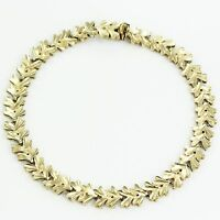 VINTAGE 10K Yellow Gold Diamond-Cut Leaf Bracelet 7.25 inch 10.4 g Tennis Style