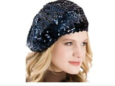 Ladies Sequin French Beret Hat in Black New