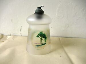 Vintage Frosted Glass Hanging Lamp Shade Scenery Hand Painted Lighting Decorat F