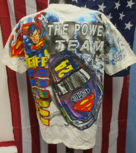 JEFF GORDON DUPONT LARGE SHIRT NASCAR MENS VINTAGE RETRO VTG CHASE SUPERMAN WHT