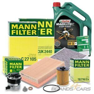MANN-FILTER INSPEKTIONSPAKET+5L CASTROL 5W-30 A5 FÜR VOLVO V50 1.6 D 05-07
