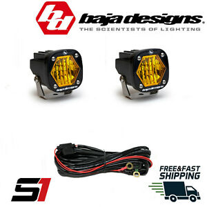 Baja Designs® S1 AMBER Wide Cornering LED Light Pod With Harness (Pair)