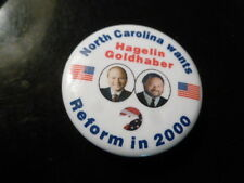 North Carolina Reform Party Pin Back Presidential Campaign 2000 Button Hagelin