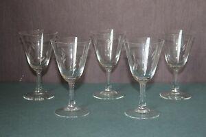 CB1-4) 5x Glas Wein Cocktail Martini Gläser geschliffen elegant H:12,2cm 50s