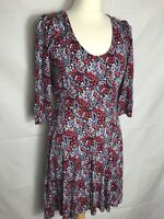 Braintree Eco Fashion Size 10 Dress Long Sleeve Red Purple Floral Bamboo Cotton