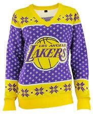 KLEW NBA Women's Los Angeles Lakers 2016 Big Logo V-Neck Sweater