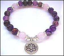LOTUS -  Rose Quartz and Purple Agate GEMSTONE -   STRETCH BRACELET