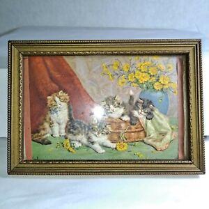 "Merlin Kitten Vintage Antique Color Print Cute Fuzzy Cat Print Wood Framed 4"" x6"