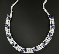 38CT High-Color & Quality Brilliant-Cut CZ Combine With 32CT Sapphire Necklace