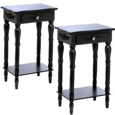 Bedroom Nightstand Bed Side End Tables Carved Legs Black Table Set of 2