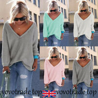 Ladies Long Sleeve Jumper Womens Oversized Loose Knitted Pullover Cardigans Tops