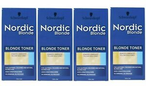 4 x SCHWARZKOPF 150mL NORDIC BLONDE TONER REMOVES UNWANTED YELLOW GOLD TONES NEW