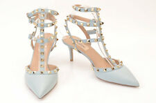 Valentino light blue L8 R8.5 pebble leather stud ankle strap pump shoe NEW $1075